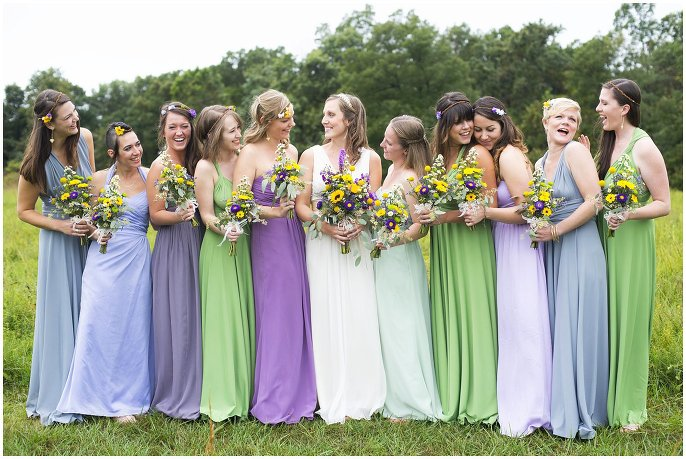 Blackberry Creek Retreat Ozarks Wedding bridal party in mismatched pastel dresses photo
