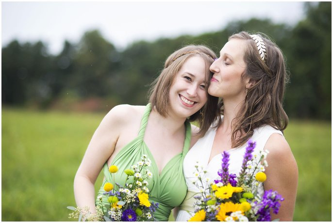 bride and bridesmaid in pastel dress photo