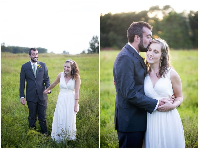 couple at sunset in field Missouri Ozarks wedding photo
