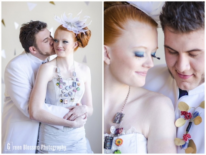 www.greenblossomphotography.com, Hunger Games Capitol citizen wedding photo, Colorado wedding photo, Denver wedding photo, The Studio Denver venue photo, Kitty Mae Millinery wedding headpiece photo, D