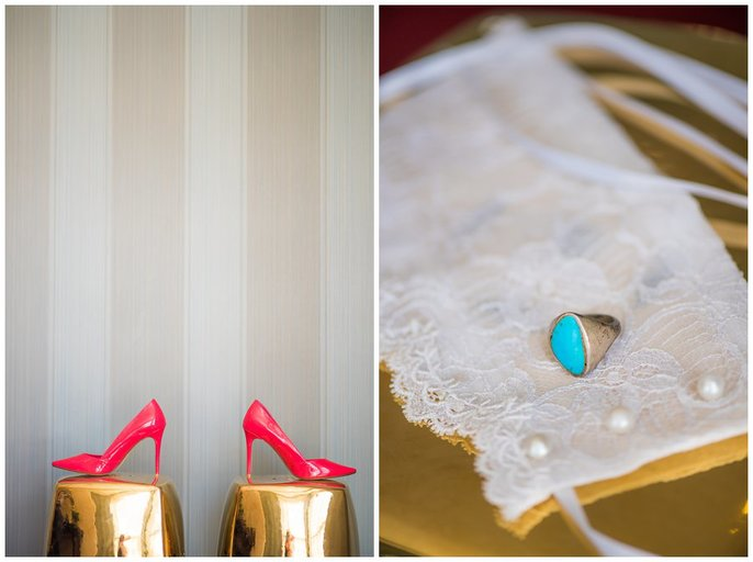 pink shoes and turquoise ring wedding photo