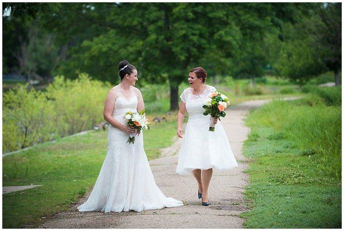 Denver LGBT first look two brides wedding photo