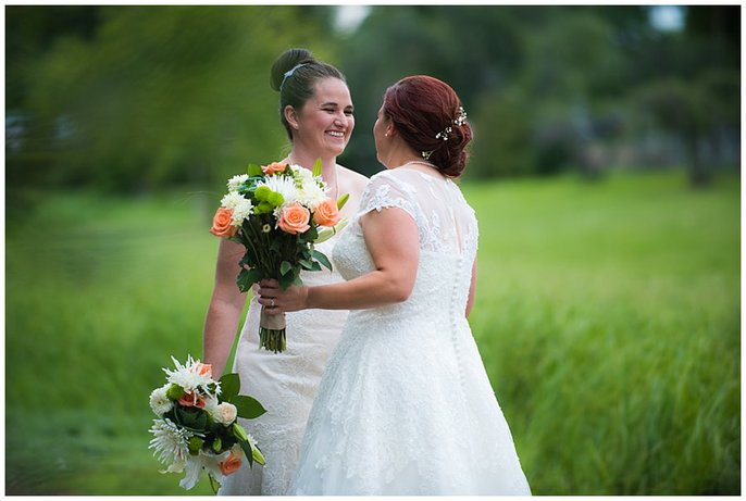 Lesbian first look Denver wedding photo