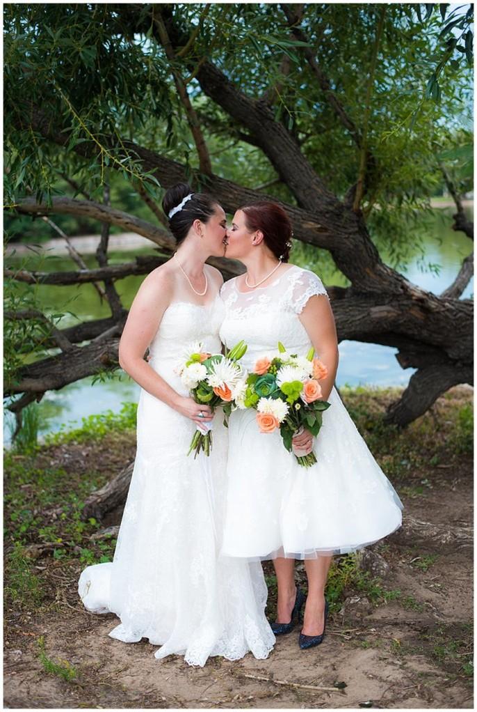 LGBT Denver wedding two brides in park photo