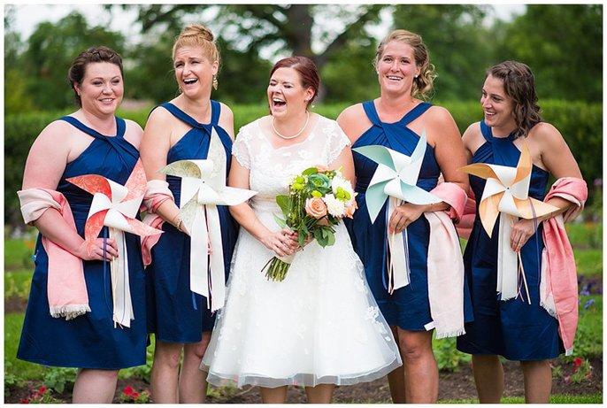 wedding party with pinwheel bouquet wedding photo