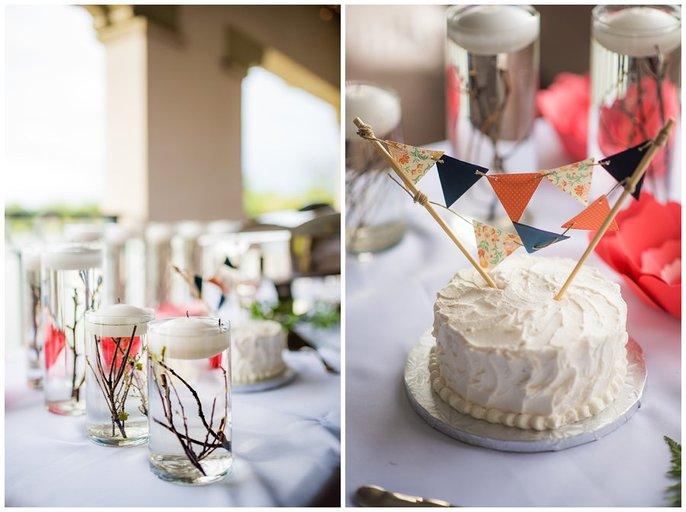 cake and centerpieces wash park boathouse wedding reception photo