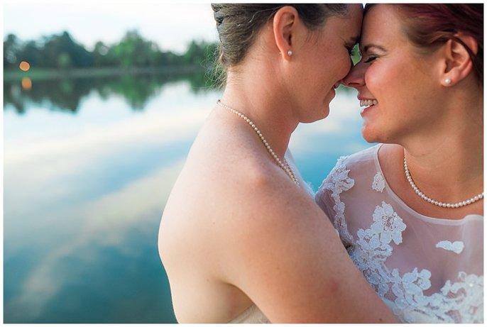 LGBT sunset wedding photo