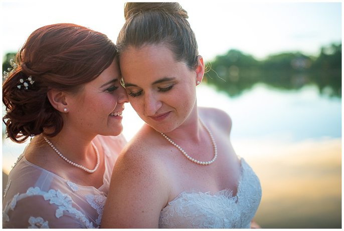 Denver lesbian wedding by wash park lake photo