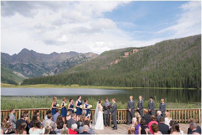 wedding ceremony by Vail colorado glacial lake photo
