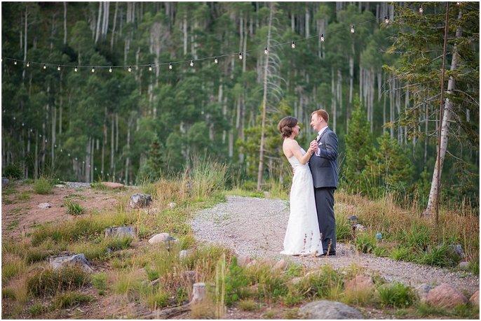 Romantic couple photo in Colorado aspen trees wedding photo