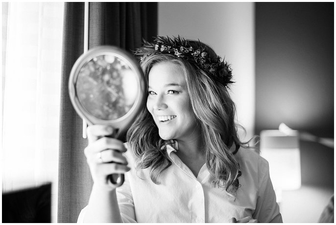 bride in flower crown getting ready colorado mountain wedding photo