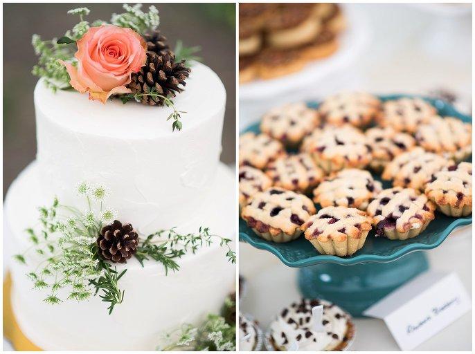 cake and pies wedding dessert Lyon mountain wedding photo