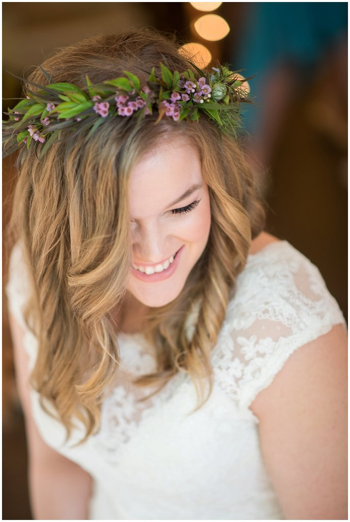 bride with flower crown Colorado mountain wedding photo