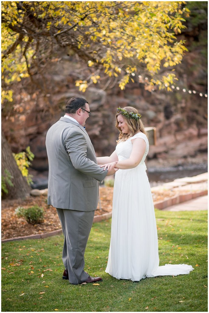 Lyons Riverbend wedding first look photo