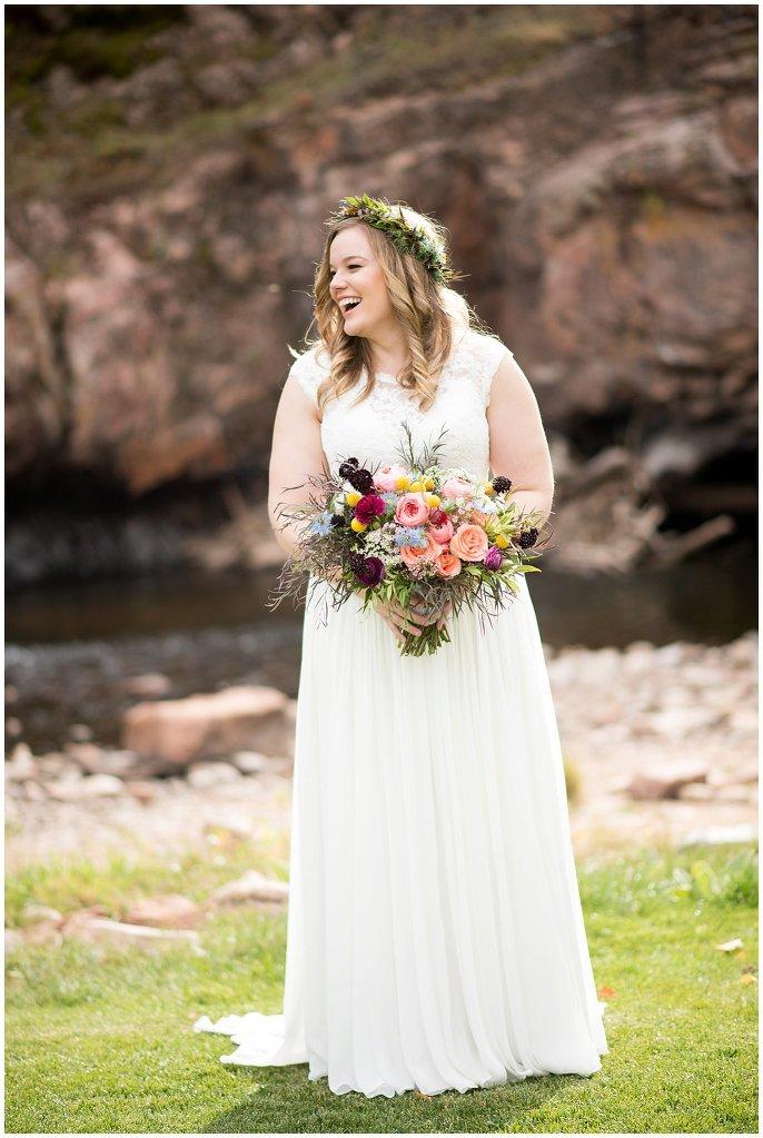 bride in flower crown colorado river wedding