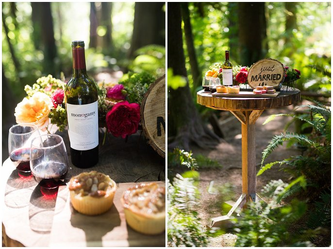 wine and pastries at washington forest wedding photo