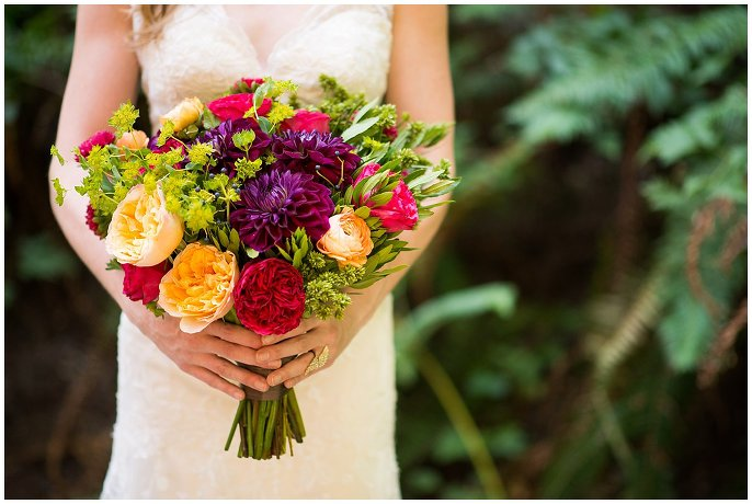 colorful woodsy wedding bouquet photo