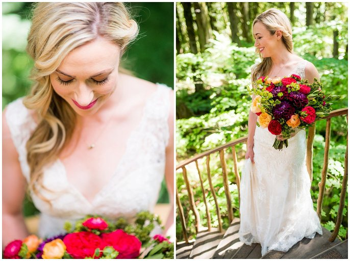 Bride in lace dress at Treehouse Point elopement