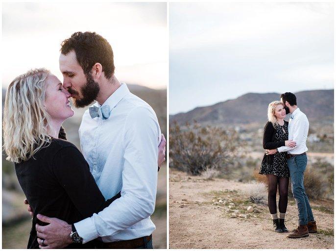 couple cuddling in Joshua Tree desert engagement photo