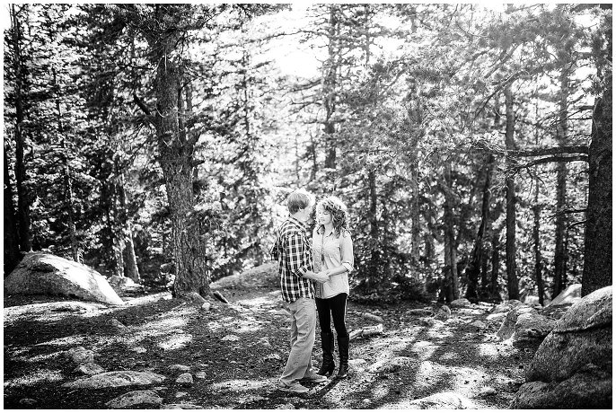 colorado engagement photo in the evergreens