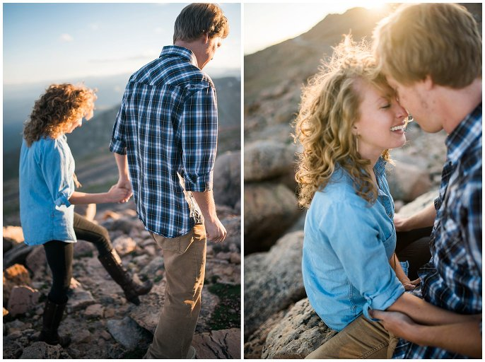 intimate moments between engaged couple in the mountains photo