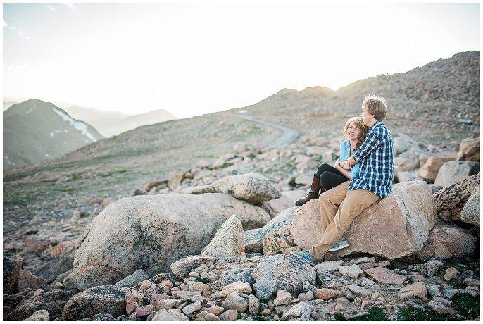 Mt. Evans summit engagement photo