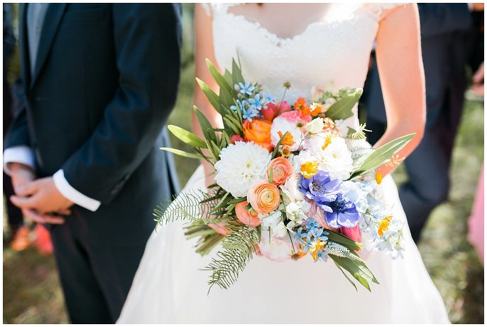 colorful bridal flowers at mountaintop Colorado wedding photo