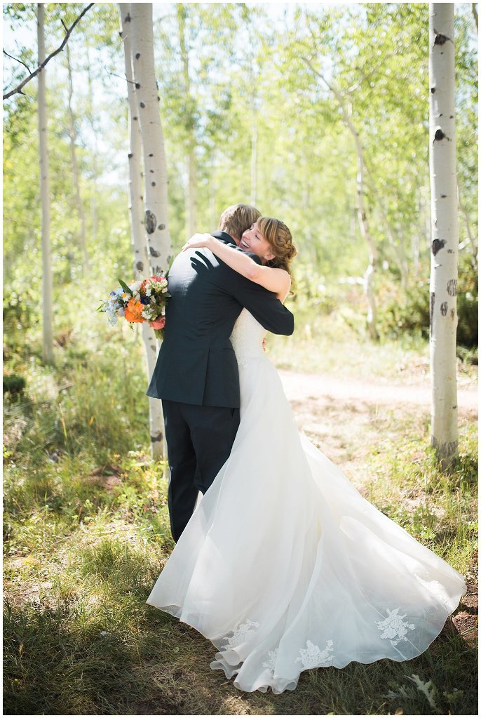 bride and groom after wedding at Granby Ranch photo