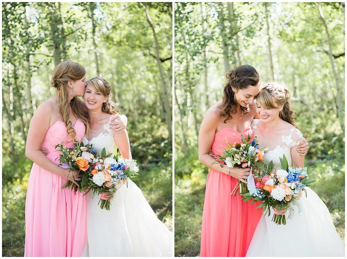 bridal party in shades of coral photo