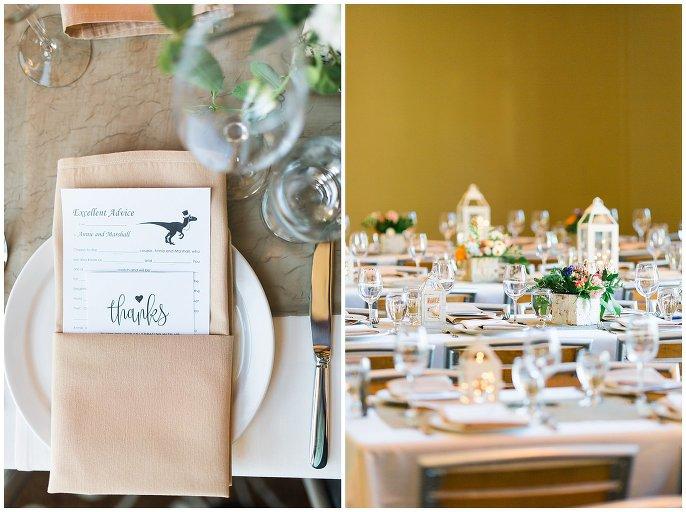 neutral and bright reception decor Colorado wedding photo