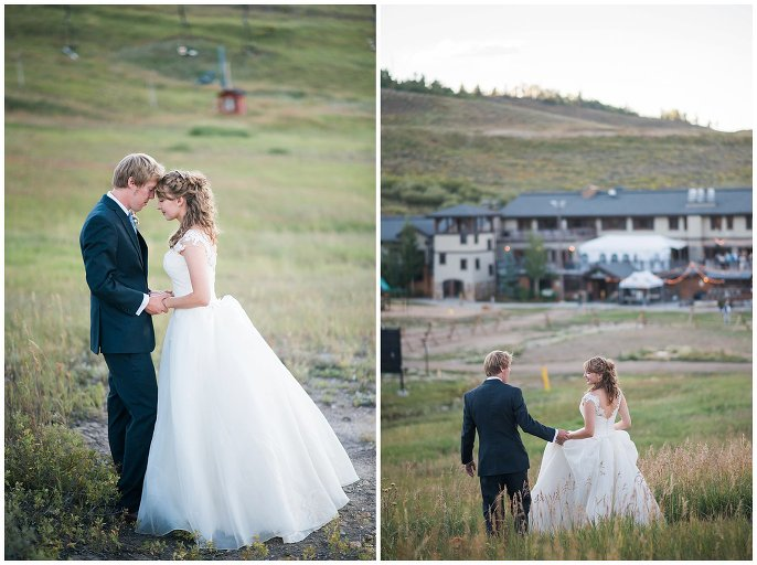 sunset photos in field at Granby Ranch wedding photo