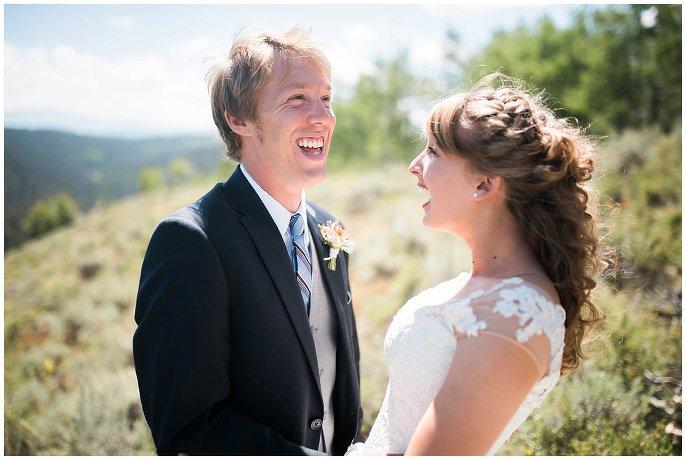 bride and groom in Colorado sunshine photo