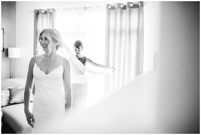 bride in custom lace veil photo