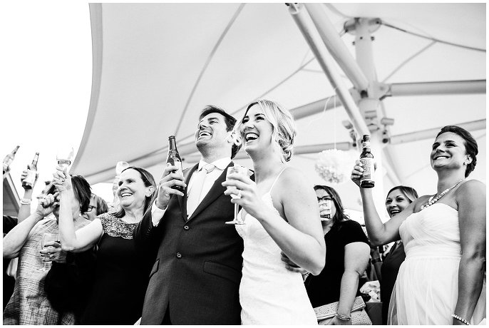 wedding day toasts on rooftop balcony Denver wedding photo