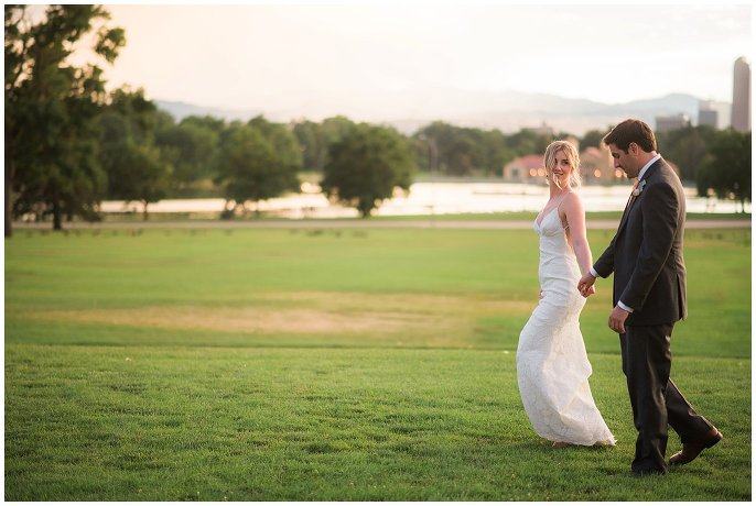 City Park sunset wedding photo