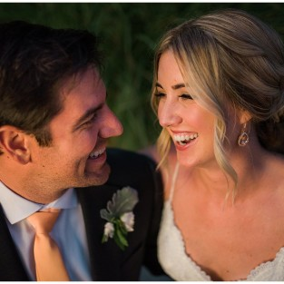 bride with sun kissed glow on wedding day photo