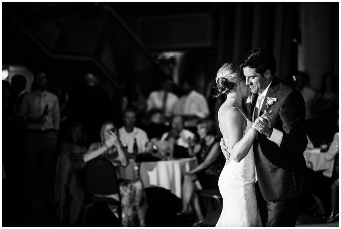 dramatic first dance at Denver city wedding photo
