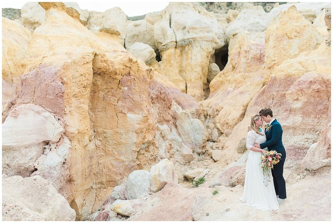 couple in paint mines elopement photo