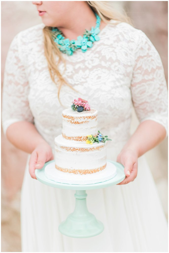 naked cake with succulent necklace photo