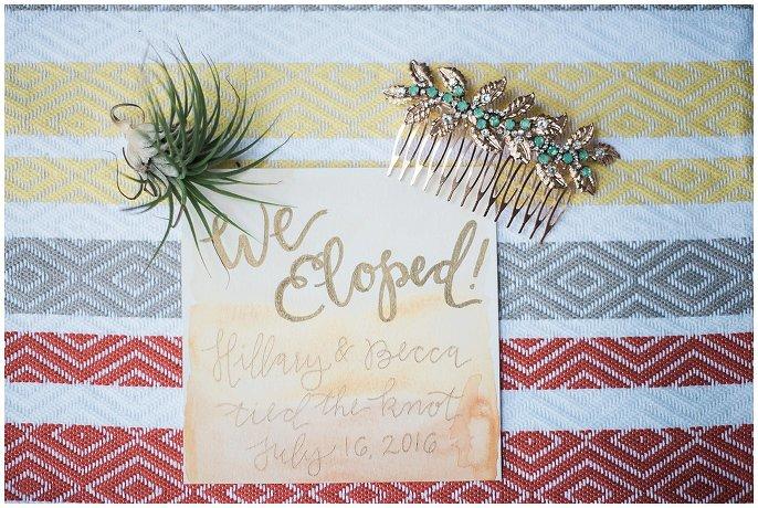 colorful elopement announcement photo