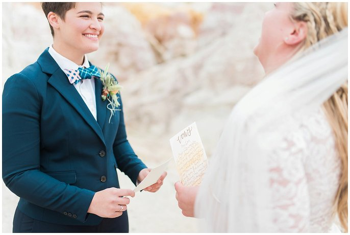same-sex couple saying vows at colorado paint mines photo