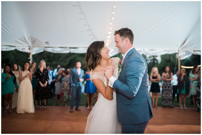 First dance at intimate farm wedding photo