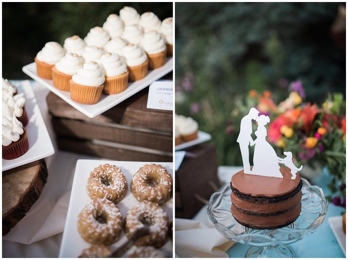 donuts at wedding dessert display photo