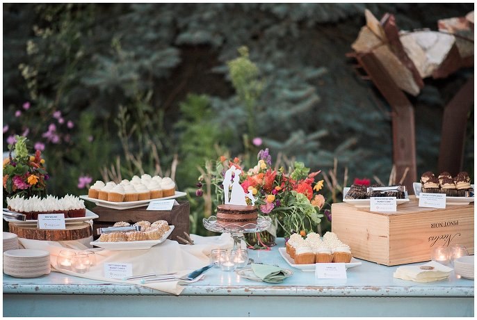 dessert table at Intimate Colorado wedding photo