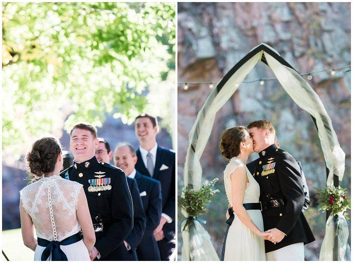 first kiss at Colorado wedding
