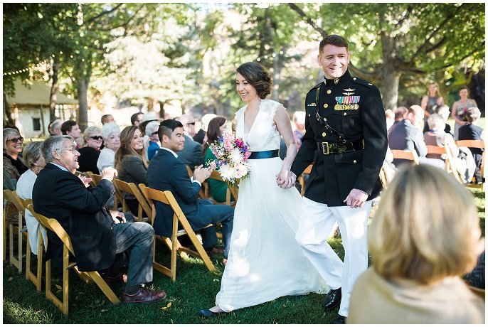 couple after rocky mountain wedding ceremony photo