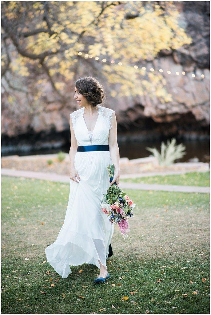 bride in BHLDN dress colorado wedding photo