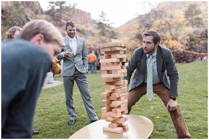 giant jenga at wedding photo