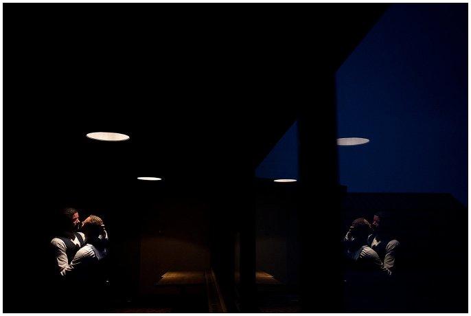 night portrait of grooms in Colorado photo