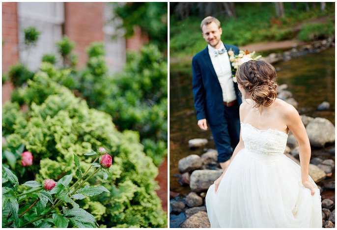 bride leading groom on river rocks